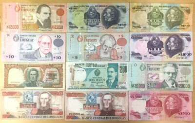 Uruguay Banknote Lot #1 small collection of 12 different notes, Circulated