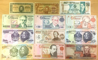 Uruguay Banknote Lot #2 small collection of 12 different notes, Circulated