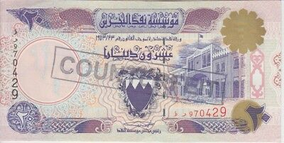 "Bahrain Banknote P16 20 Dinars unauthorized stamped ""Counterfeit"", AU"