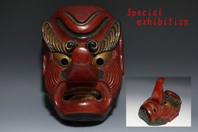 Japanese antique Tengu mask Gigaku God Buddha Noh Buddhist statue Temple edo