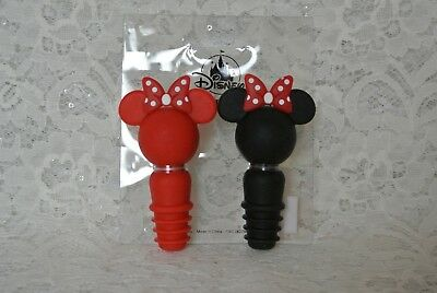 DISNEY Set of 2 Minnie Mouse Bottle Stoppers from Disneyland PVC Wine Corks, NEW