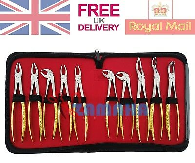 Set of 10 Tooth Extraction Extracting Forceps Surgical Dental Instruments UK CE