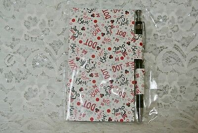 DISNEY PARKS Minnie Mouse Notepad Journal with Pen, Dot Bow Heart Sweet, NEW