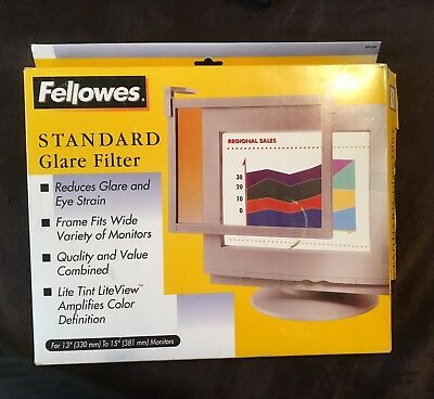 "Fellowes Computerwear Standard Glare Filter Fits 13"" To 15"" Monitor - New In Box"