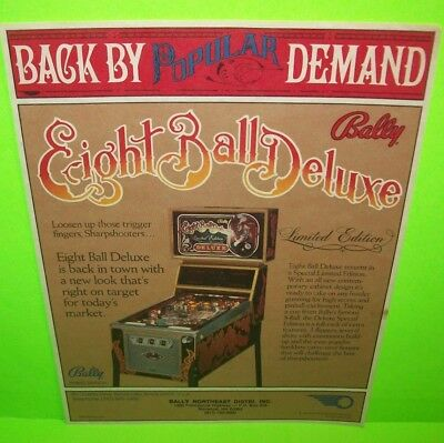 Bally EIGHT BALL DELUXE Limited Edition 1981 Original Pinball Machine Flyer Art