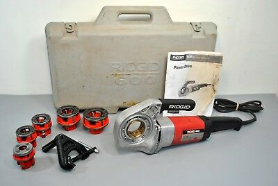 "Ridgid 600 Hand-Held Power Drive Pipe Threader 11-R Die Heads 3/8""-1.25"" & Case"