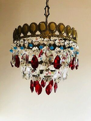 Red Crystal Chandelier Antique style Ceiling Light Fixture Vintage French Brass