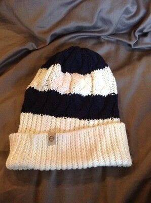 Ugg Blue And Cream Cable Knit Hat (matching Scarf Sold Separately)
