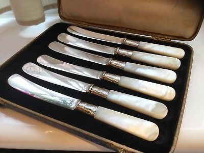 Superb Antique Silver Plated & Sterling Silver Mother Of Pearl Butter Knives