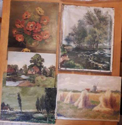 Collection Of 5 Antique Vintage Oil Paintings. Landscapes/pastoral Scenes