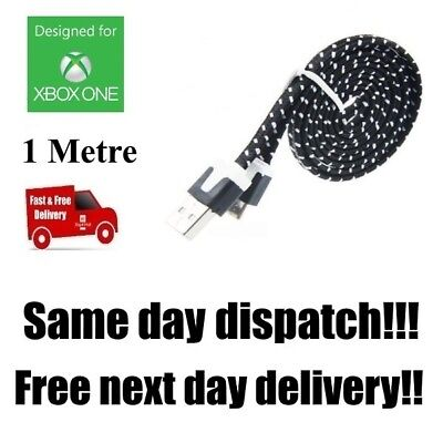 BLACK Xbox One Controller Braided Fast Charging Cable 1 Metre 1m Lead USB C108F