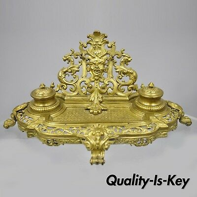 19th C. French Louis XV Style Figural Bronze Double Inkwell Inkstand Pen Holder
