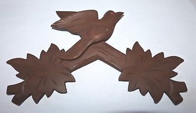 "Vintage Wooden Leaves Birds Cuckoo Clock Parts Top Topper Parts 8 1/2"" #A12 NOS"