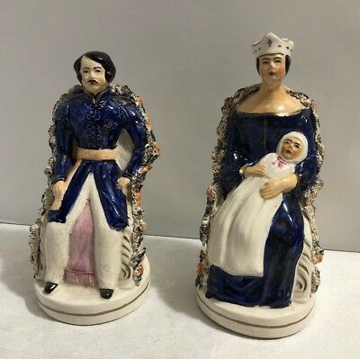Pair of Staffordshire Flat Backs Queen Victoria with Baby & Albert