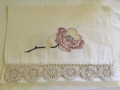 vintage hand embroidered dresser scarf With Crochet