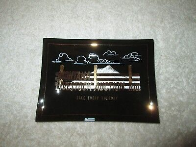 Vintage Advertising Glass Trinket Jewelry Tray Montana Livestock Auction Butte