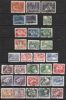 SWEDEN - 31 x Used Stamps - 1924-1936 Period.  Cat £55.