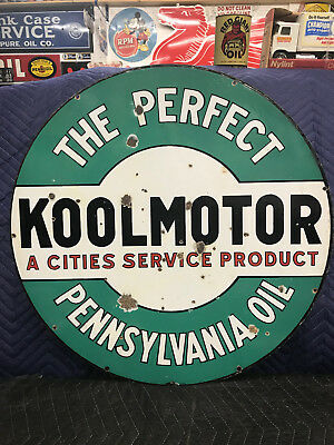"Original Cities Service Koolmotor 24"" Dsp Porcelain Curb Sign Oil Gas Station"