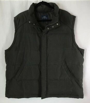 Men's Brooks Brothers 346 Genuine Down Quilted Puffer Vest Olive Green Large EUC