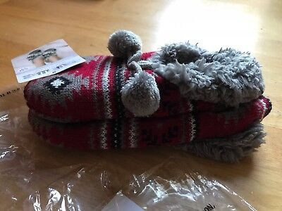 New W/Tags Muk Luks Women's Scarlet & Grey Ballerina Slipper Socks W/tassels SM