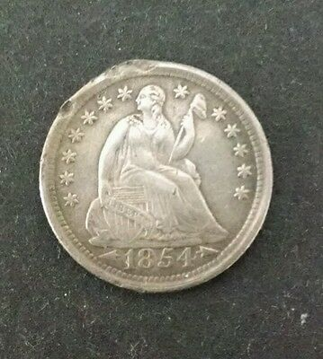1854 10C Arrows Liberty Seated Dime. EF Details! LOOK!