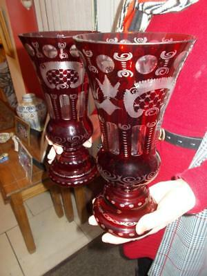 Large Pair Vintage Etched Ruby Glass Vases Bohemian Early 1900S
