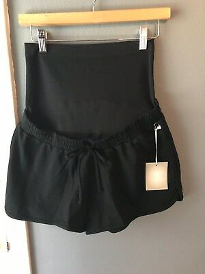 NWT Women's Maternity Size Medium Black Pull On Shorts Full Panel by A. Glow