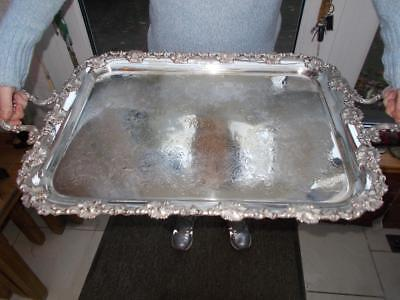 """Large Rococo Style Butlers Silver Plated Tray 27.5"""" (70Cm) Long On Domed Feet"""