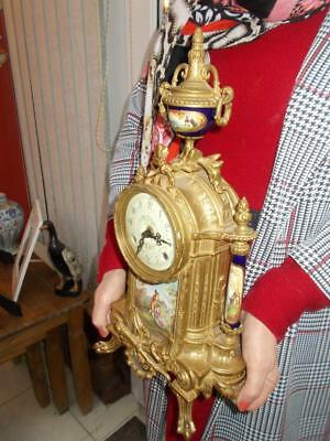 Large Ormolu Porcelain Chiming Clock Working Well Very Decorative Nice Condition