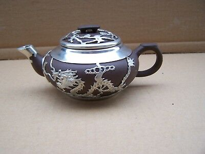 Collectable Antique Chinese Hand-crafted Yixing Pewter Dragon Teapot - with mark