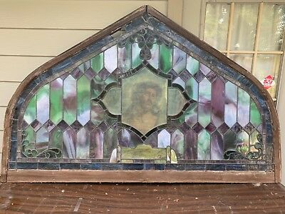 Antique Arch Top Vintage Church Stained Glass Window 6 ft x 3 3/4