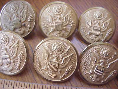 "LOT of 10 ~ WWII US Army Brass Overcoat Button Rex Product 1 1/8""=28 mm Vintage"