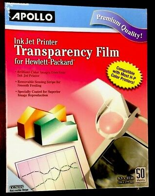 Apollo Transparency Film for Inkjet Printers, for Hewlett-Packard, 50 Sheets/Pac