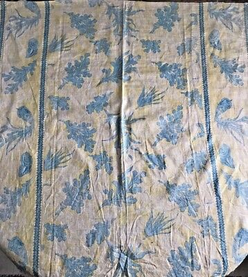 Antique Victorian Printed Cotton Fabric - Blue & Yellow