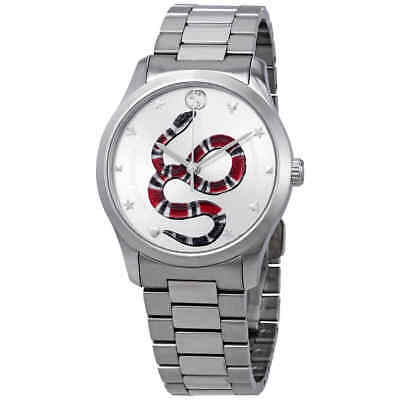 95b1835cd86 Gucci G-Timeless Silver with Snake Motif Dial Stainless Steel Watch  YA1264076
