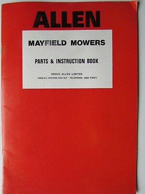 Allen/Mayfield  mowers  instruction and spares handbook