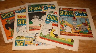 5 issues of Shiver & Shake comic from 1973 & 1974 in good condition