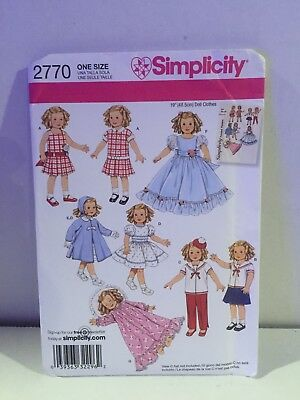 """Simplicity Sewing Pattern 2770 -19"""" Doll Clothes Wardrobe -Uncut -Factory Folded"""