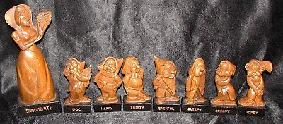 Vintage S.C. Viscarra Hand Carved Snow White and the Seven Dwarfs