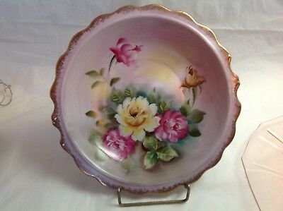 """Antique Amazing Hand Painted Plate / Bowl Yellow Pink Roses Gold Trim 9.5"""" Acros"""