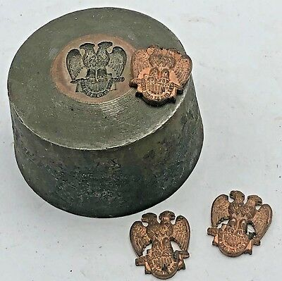 Vintage MASONIC Double Headed Eagle SPES MEA IN DEO EST Medal Pin Hub Hob Mold