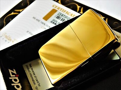 24Ct Gold Plated Zippo Petrol Pipe Cigarette Refillable Lighter Gift Boxed 24K