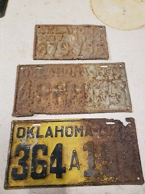 3 different 1934 OKLAHOMA License Plate rusty