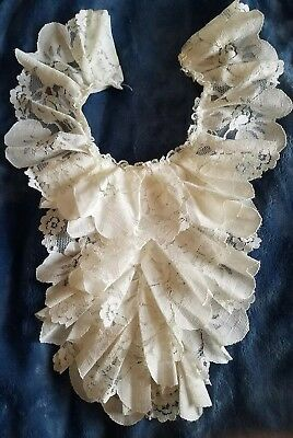 Vintage Antique 1930s 40's Dickie Collar French Lace Clean white