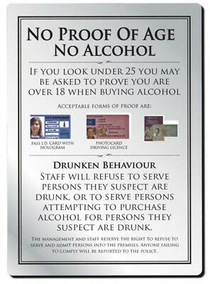 No Proof of Age No Alcohol Sign Pub Bar Restaurant Licensing Notice Under Age