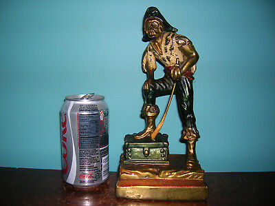 Antique pirate booty treasure single bookend Armor Bronze clad, orig paint,1931