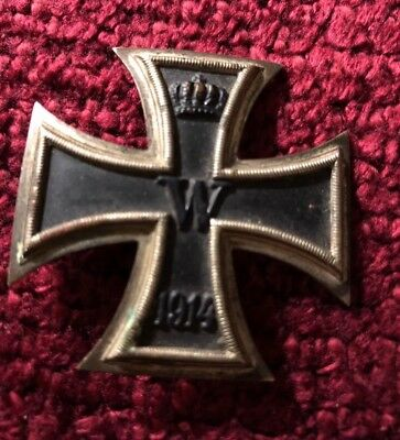 WWI 1914 Iron Cross 1st Class Imperial 800 Silver Pin Medal Badge Original