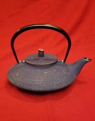 Japanese Enameled Cast Iron Tetsubin Teapot Dragonfly Blue With Black Enamel Tea