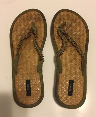1f0989eaa826c J. CREW WOMENS Wooded Bamboo Bead Thong Sandal Made Italy Flip Flop ...