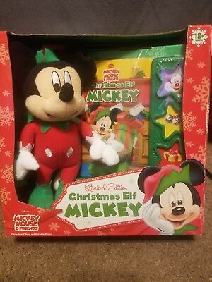 Limited Edition Christmas Elf Mickey Plush And Book